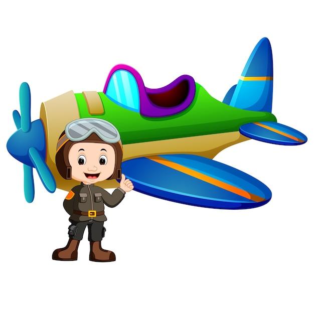 Pilot and jet plane on white background Premium Vector