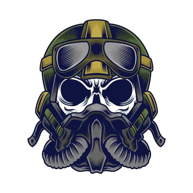 Pilot skull Premium Vector