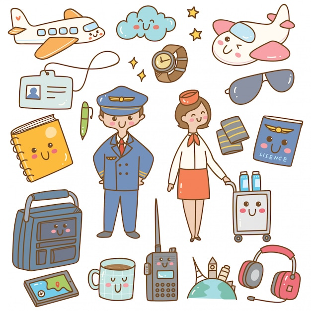Pilot and stewardess with equipments kawaii doodle Premium Vector