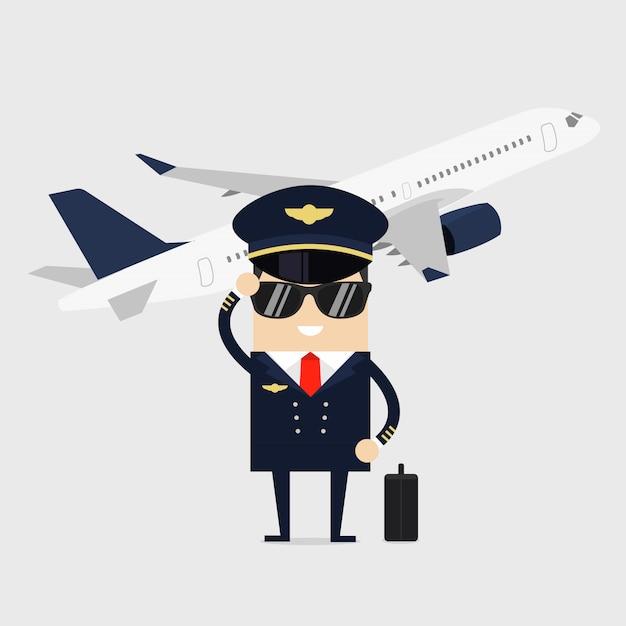 Pilot in uniform standing in front of the plane. Premium Vector