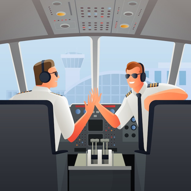 Pilots in cabin of plane illustration Free Vector