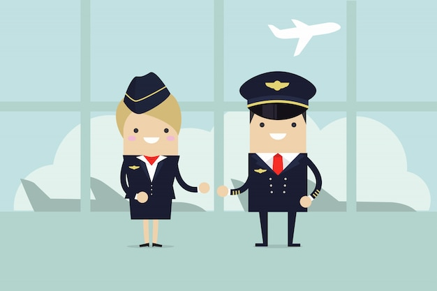 Pilots and stewardesses welcome. Premium Vector