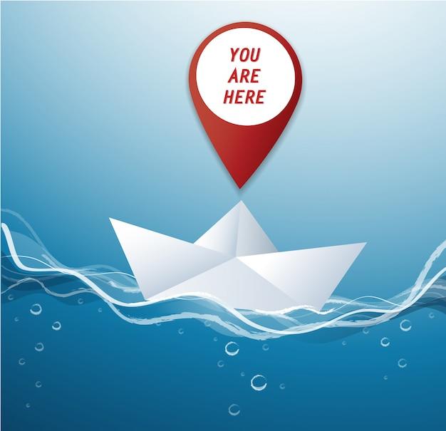 Pin location icon on paper boat vector Premium Vector