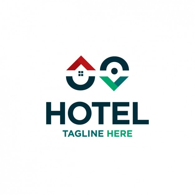 Pin map hotel logo Free Vector