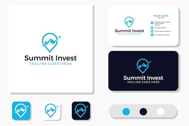 ピンマウンテン&マーケティング統計アロービジネス財務ロゴデザインと名刺 Premiumベクター