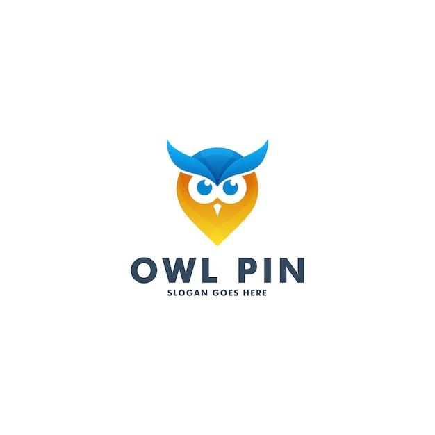 Дизайн логотипа сова булавки Premium векторы
