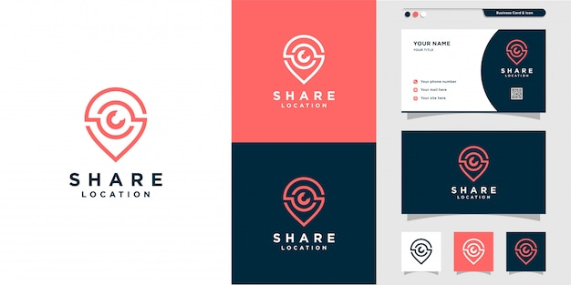 Pin share logo and business card design with line art style. line art, place, map, location, business card, icon, pin logo, premium Premium Vector