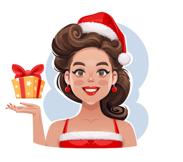 Pin-up girl with christmas gift illustration Premium Vector
