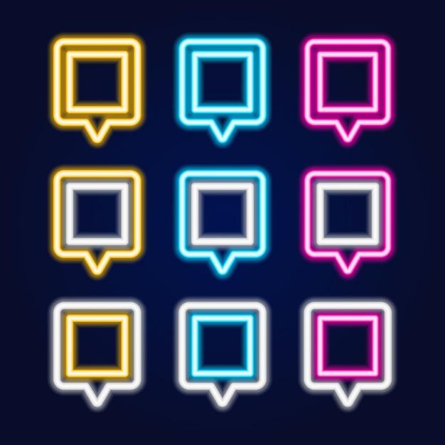 Набор квадратных неоновая вывеска карты pin-код. Premium векторы