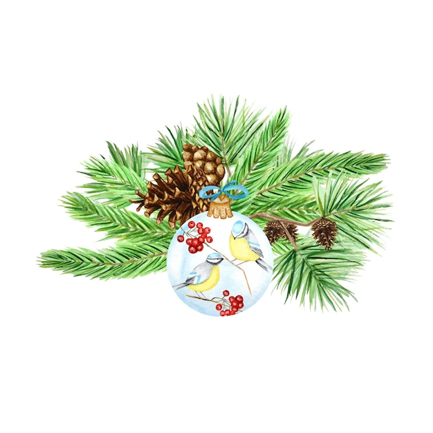 Pine branches and cones, christmas glass ball with red rowan, winter birds blue tit bouquet composition, watercolor hand drawn illustration Premium Vector