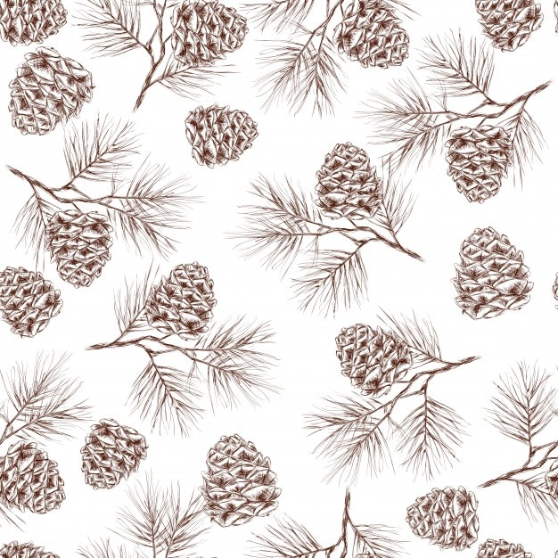 Pine fir christmas tree cedar spruce and cones seamless pattern vector illustration Free Vector