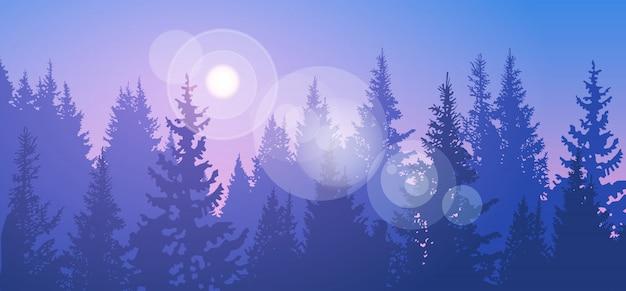 Pine forest landscape mountain sky woods Premium Vector