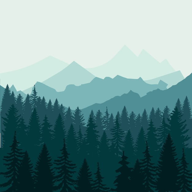 Pine forest and mountains Premium Vector