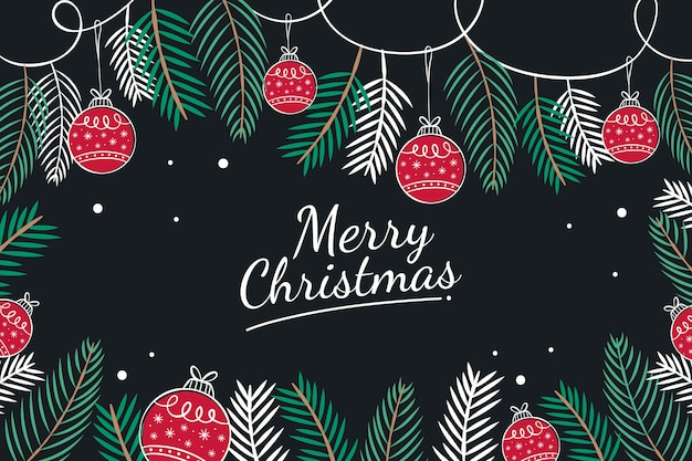 Pine leaves and christmas red balls hand drawn Free Vector