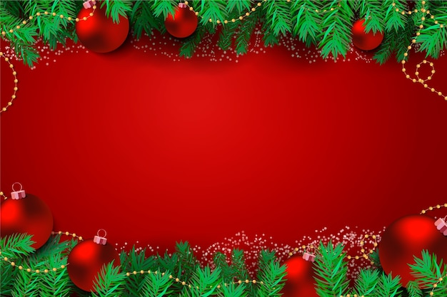 Pine leaves and red christmas balls elegant background Free Vector