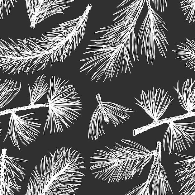 Pine needles vector hand drawn seamless pattern. Premium Vector