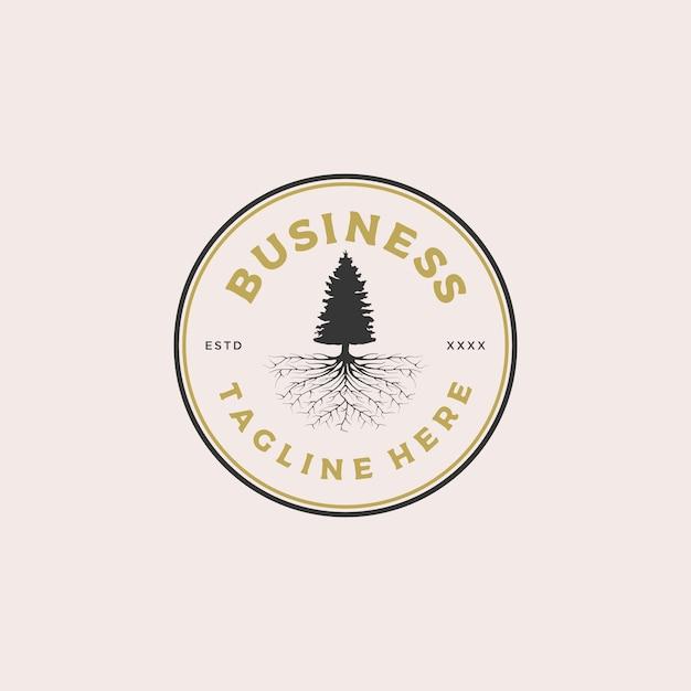 Иллюстрация дизайна логотипа значка корня сосны Premium векторы
