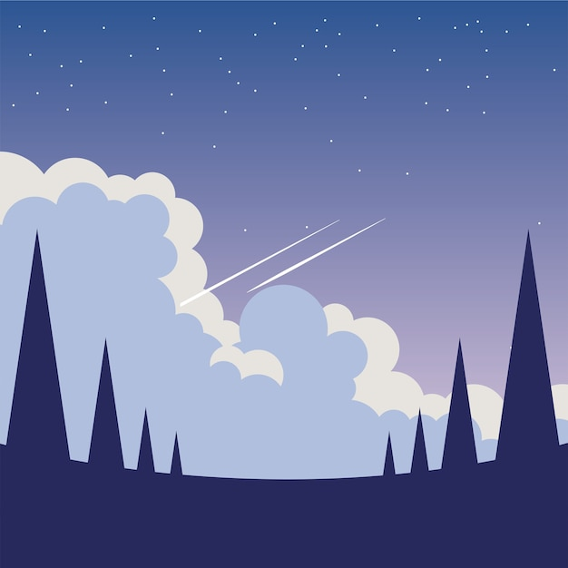 Pine trees in front of night sky design, landscape nature environment and outdoor theme Premium Vector