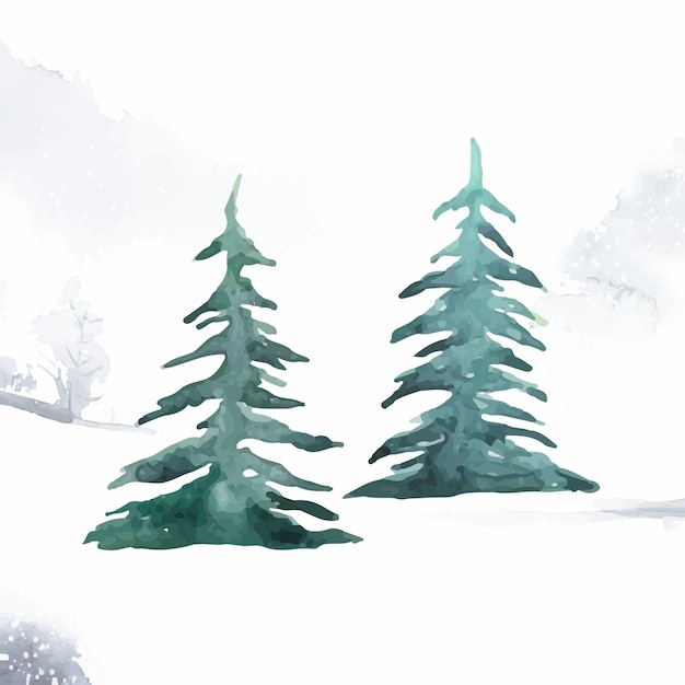 Pine trees painted by watercolor Free Vector
