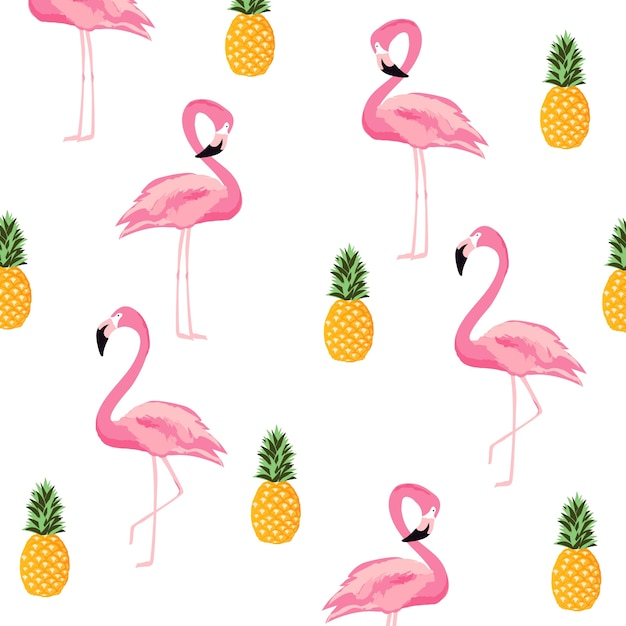 Pineapple And Flamingo Isolated Seamless Pattern Background Cute Poster Design Premium Vector