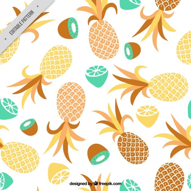 Pineapple And Other Fruits Pattern Free Vector