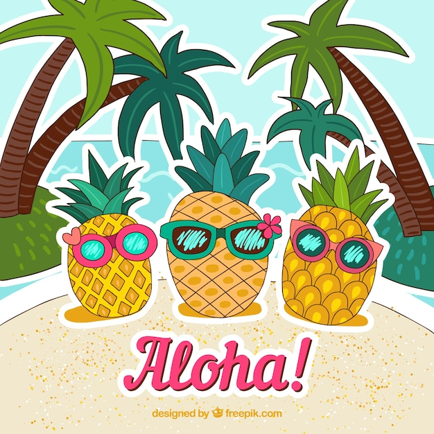 Pineapple background with hand drawn sunglasses Free Vector