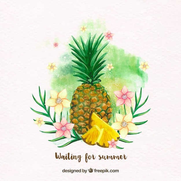 Pineapple background with watercolor\ flowers