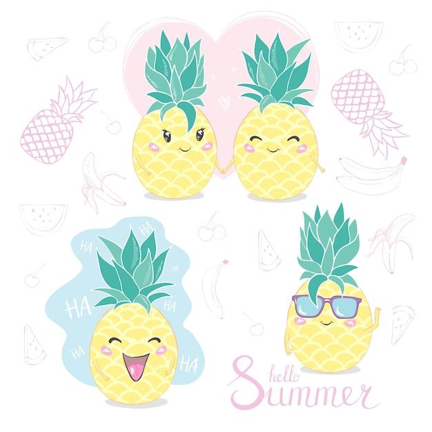 Pineapple, cute character Premium Vector