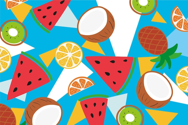 Pineapple and exotic fruit slices Free Vector