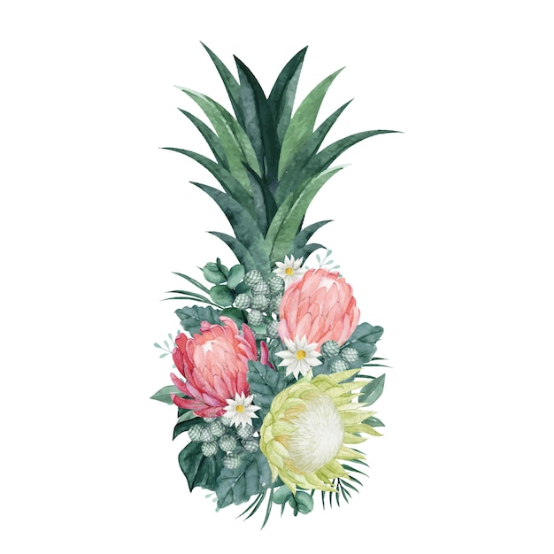 Premium Vector Pineapple Floral Arrangement With Beautiful Protea And Tropical Leaves Graphics for your posters and ads. https www freepik com profile preagreement getstarted 8369090