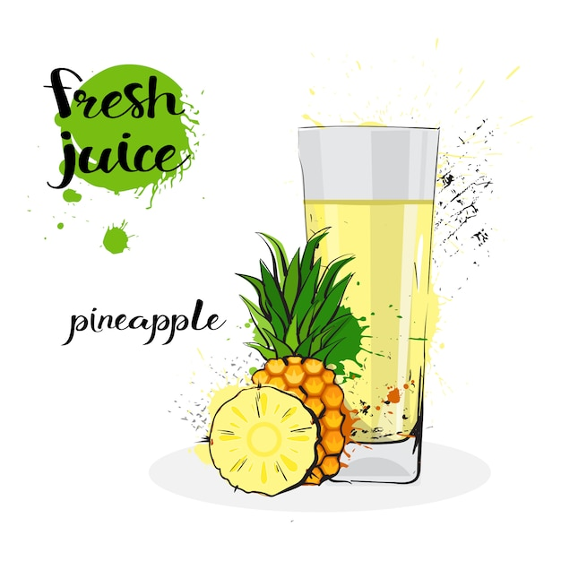 Pineapple juice fresh hand drawn watercolor fruits and glass on white background Premium Vector