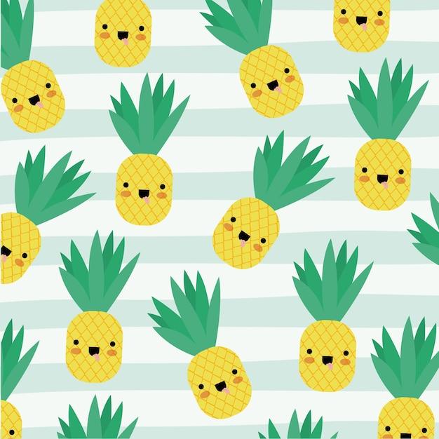 Pineapple Kawaii Fruits Pattern Vector Premium Download