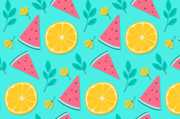 Pineapple and orange summer background pattern Free Vector
