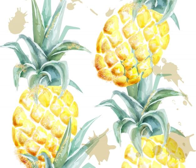 Pineapple pattern watercolor Premium Vector