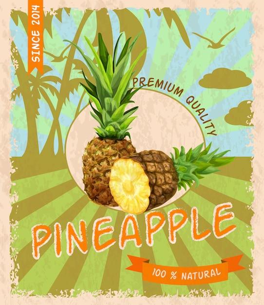 Pineapple retro poster Free Vector