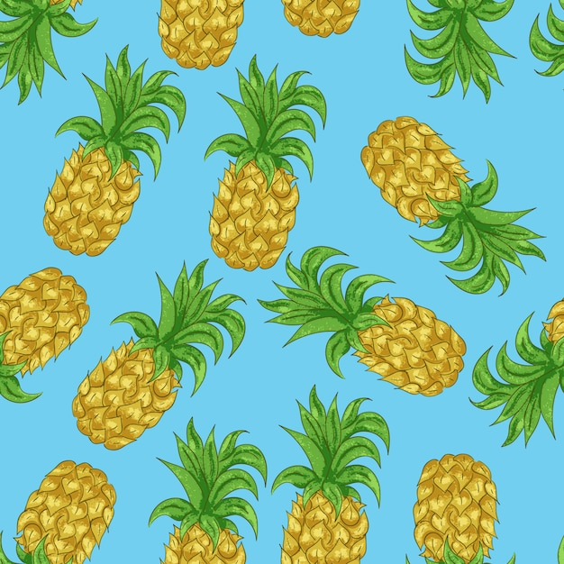 Pineapple seamless pattern in the cartoon style. tropical exotic fruit for your projects summary. Premium Vector