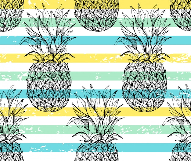 Pineapple seamless pattern, sketch doodle texture. Premium Vector