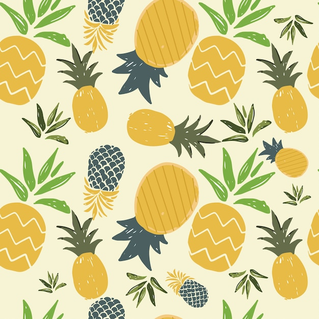 Pineapple seamless  pattern of summer Premium Vector