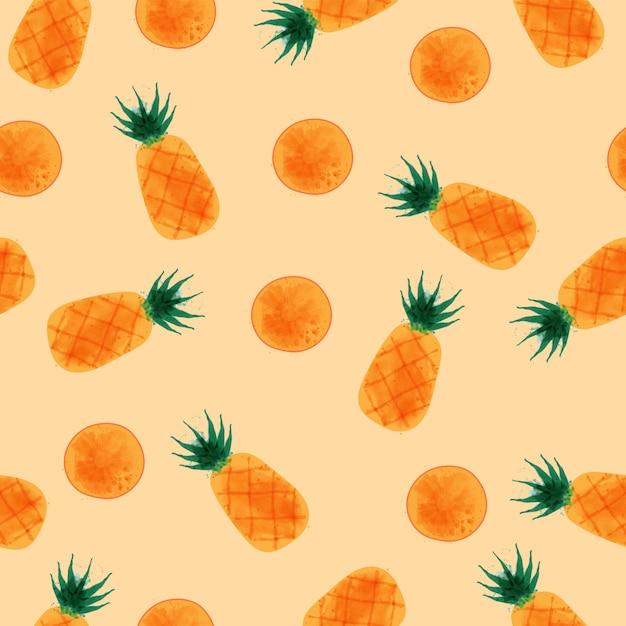 Pineapple seamless pattern, watercolor pineapple set. Premium Vector