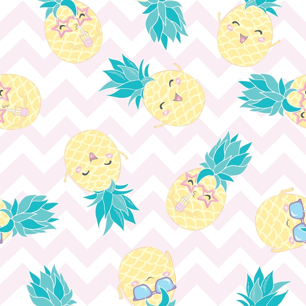 Pineapple seamless pattern Premium Vector