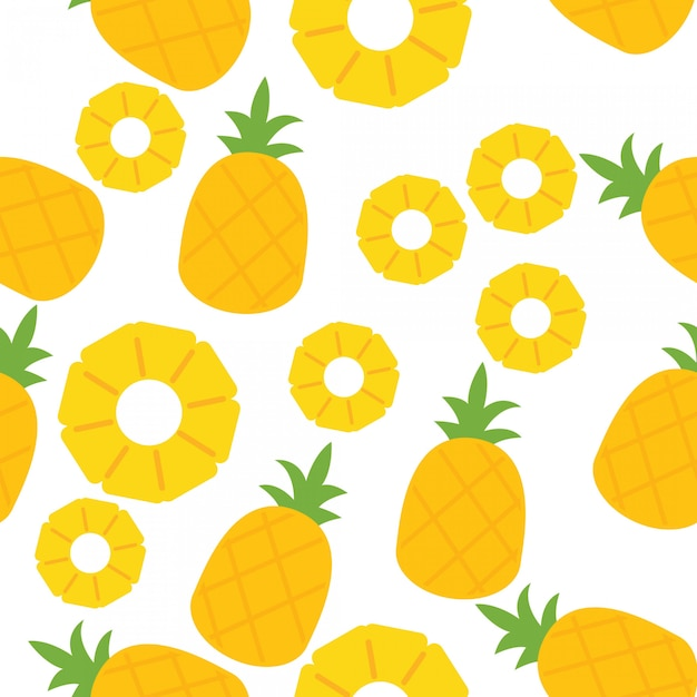 Pineapple seamless pattern Premium Vector