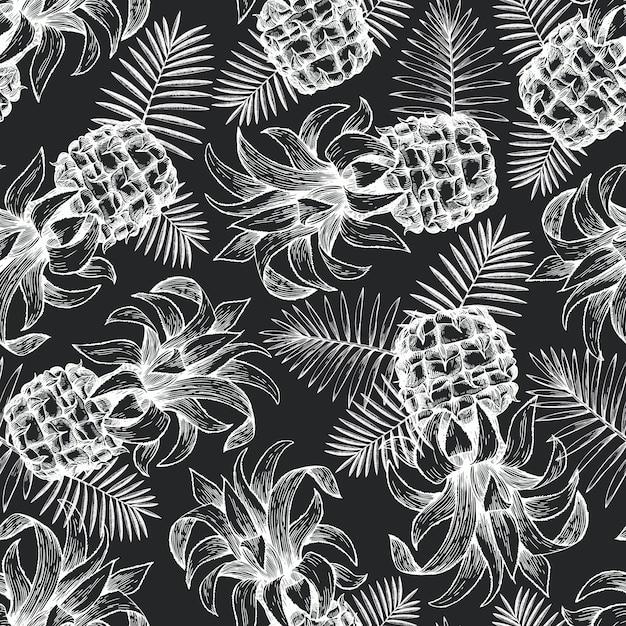 Pineapple seamless pattern. Premium Vector