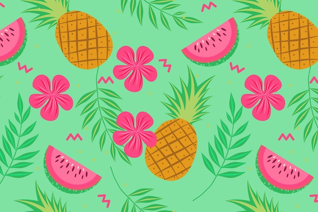 Pineapple and watermelon fruit seamless pattern Free Vector