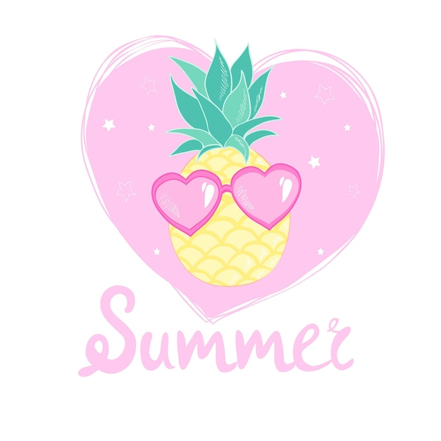 Pineapple with glasses design, exotic, background, food, fruit, illustration nature pineapple summer tropical. Premium Vector