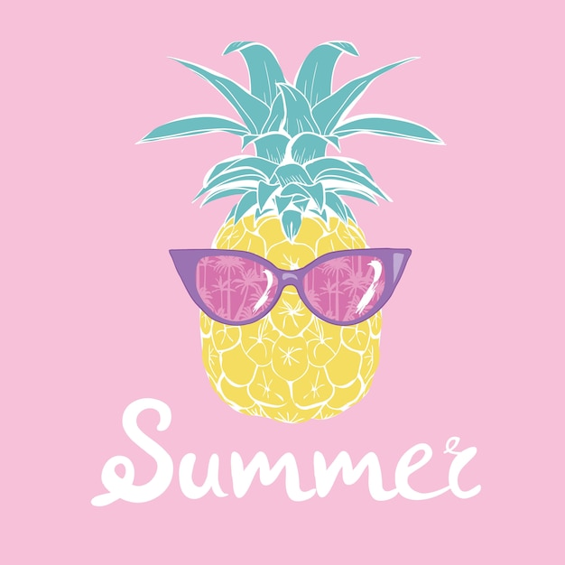 Pineapple with glasses tropical, vector, illustration, design, exotic, food, fruit Premium Vector