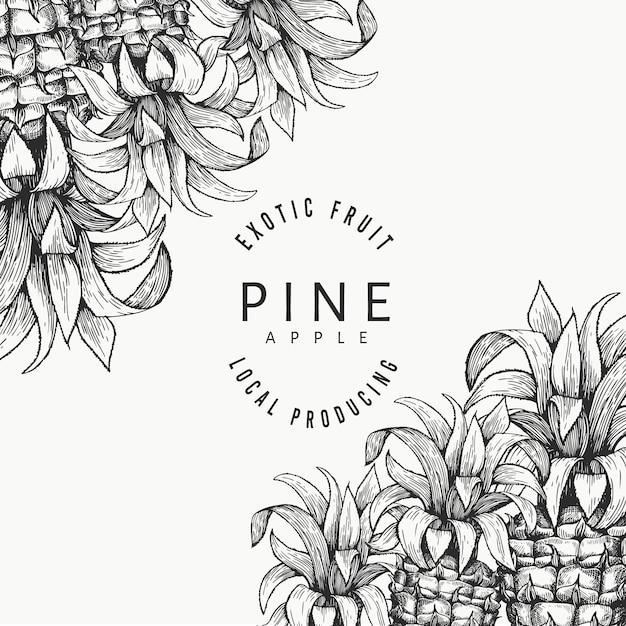 Шаблон оформления ананасов и тропических листьев. нарисованная рукой иллюстрация тропических фруктов вектора. выгравированный в стиле ананас фруктовый баннер. ретро ботаническая рамка. Premium векторы