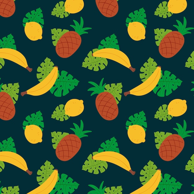 Pineapples and bananas fruit pattern template Free Vector