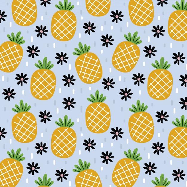 Pineapples pattern of summer Premium Vector