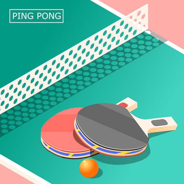 Ping pong isometric Free Vector