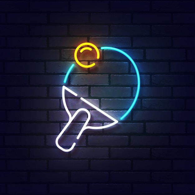 Ping pong neon sign. glowing neon light signboard of table tennis. sign of ping pong with colorful neon lights isolated on brick wall. Premium Vector